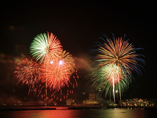 華やかな8月の熱海海上花火大会