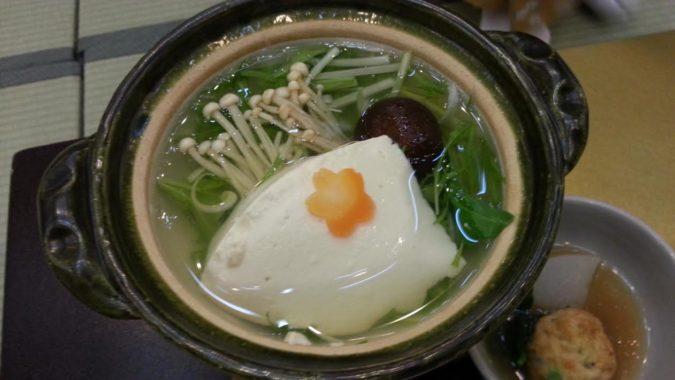 朝食の『湯豆腐』と「鯵の干物」